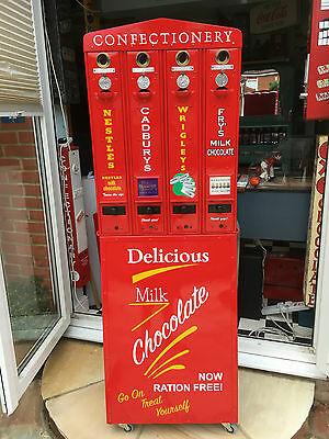Four Vintage Art Deco Vending Machines on a stand 1d Old Penny Working Platform