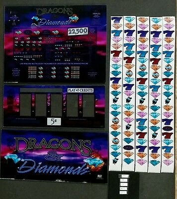 IGT S2000 DRAGONS & DIAMONDS Top Belly Reel Glass w/ Reel Strips & Software