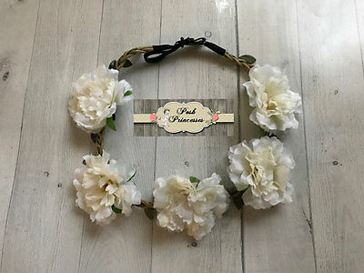 Baby Headband, Large Ivory Flower Headband, Flower Wreath, Halo, Bohemian Style,