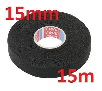 15mm x 15m TESA Tape PET FLEECE CABLE ROLL ADHESIVE CLOTH FABRIC WIRING HARNESS