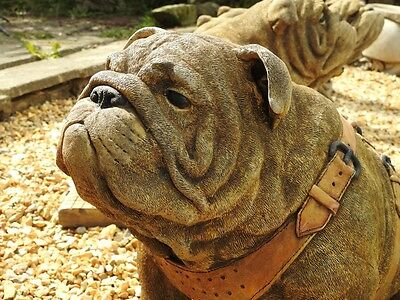 Stunning Stone Cast Sitting British Bulldog Dog Garden Home Ornament Statue
