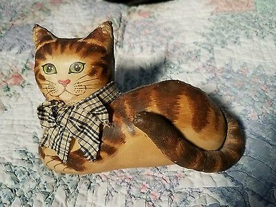 DARLING Antique Style Hand Painted Stuffed Cloth TORTOISE SHELL CAT