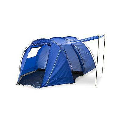 4 Man L  Tunnel Tent Outdoor Camping Summer Holidays Blue 3000 Mm Fly Net Safe