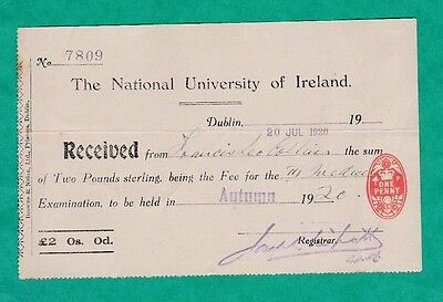 The National University Of Ireland  1920 Cheque