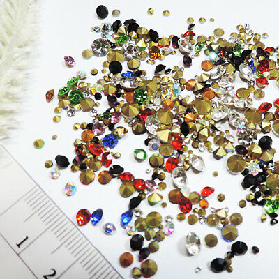 Strass CHATON * 500 stk * BUNT-KLAR-MIX * 1-5mm * Glas STRASS Steine