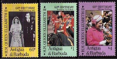 ANTIGUA & BARBUDA ~ 1986 QEII The Queen at 60 sg#1005/1007, MNH