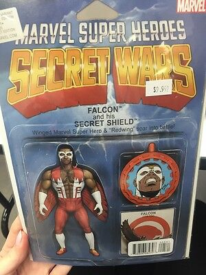 SECRET WARS #5 Variant Edition (Marvel, 2016) Falcon Vintage Action Figure VF NM