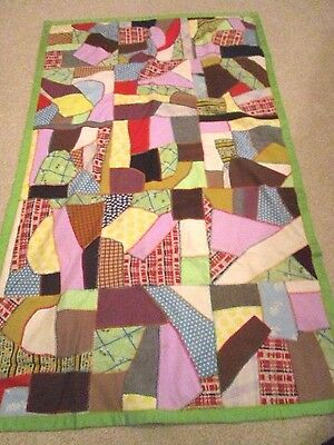 Vintage  Hand-Made/ Stitched Crazy Patchwork Quilt with Rainbow Colors 70x42
