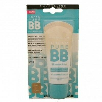 Maybelline Dream Pure BB Cream 8 in 1 ITALIAN TEXT Light 30ml NO PACKAGING