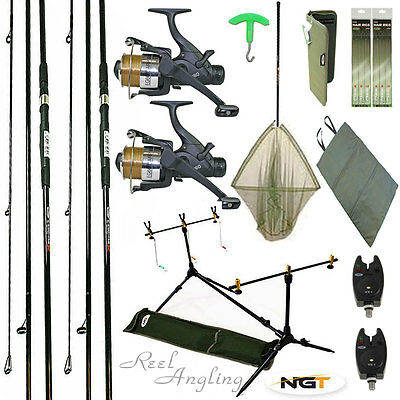 Fishing Kit  2 X Carp Rods Reels Bite Alarms, Rod Pod Landing Net Ngt Rig Wallet