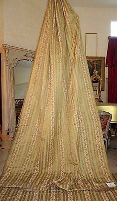 Huge 15 Pc. Set French Antique Woven Silk Drapes , Valances , Swags , Bed Cover