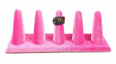 Pink Velvet Five Finger Ring Combo Stand Jewelry Showcase Display