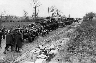 1918 Reprint From Original Press Release Photo Brit Artillery Moves To Front