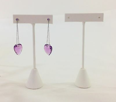 """2pc White Leatherette TBar Shape Earring Stand Jewelry Showcase Display 6""""H"""