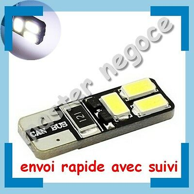 10 Veilleuses LED W5W T10 Canbus anti-erreur ODB Blanc Xénon 6 SMD Blanc Pur