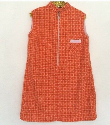 Vintage Kids 1970s Orange Geometric Checked Deadstock Towelling Shift Dress 6-7