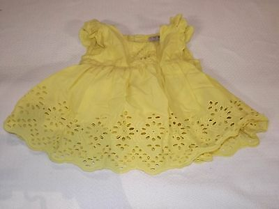 Next 12 - 18 Months Yellow Embroidered Lace Girls 100% Cotton Summer Dress