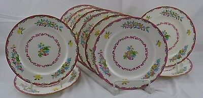 """Minton B925 Set of 10 Luncheon Plates 9"""" Pink and Green Edge Flowers Mustard"""