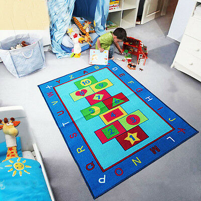 Childrens Girls Boys Hopscotch Bedroom Playroom Floor Mat Carpets Kids Play Rugs