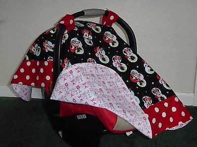 ** MINNIE MOUSE**  Handmade Baby Infant Car Seat Canopy-Cover