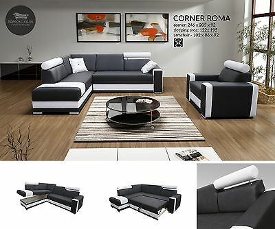 - Roma - FAUX LEATHER OR FABRIC New Corner Sofa Bed, Sleep Function