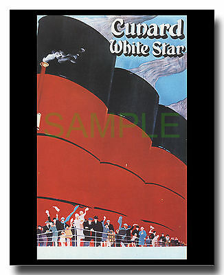 Cunard White Star Queen Mary art deco repro poster
