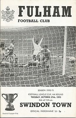 FULHAM v SWINDON TOWN, LEAGUE CUP 4th ROUND, 1970