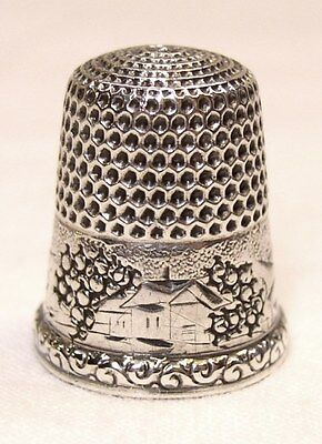 Antique Simons Brothers Sterling Silver Thimble Country Cottage Scene & Ferns