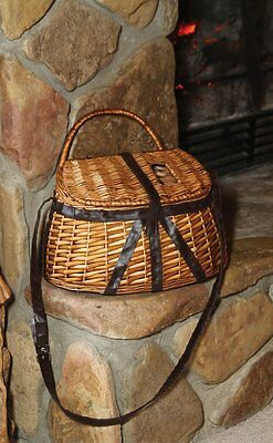Antique Fisherman's Creel Basket River Trout Fish Wicker NEW! Free Shipping