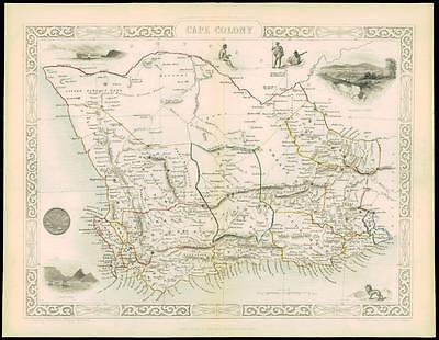 "c1850 ""CAPE COLONY"" Original Antique Map by Tallis Grahams Town Knysna"