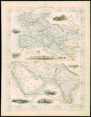 "c1850 ""OVERLAND ROUTE TO INDIA"" Antique Map by Tallis Persia Turkey Russia Aden"
