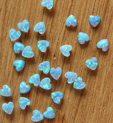 Mini Heart Shaped Cabochons Lab Fire Opal Flat Back Loose Gemstone Cabs 10 pcs
