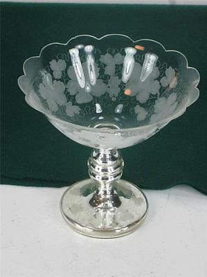 Antique Bohemian Mercury Glass Compote Engraved Grape Leaf Copper Wheel Silvered
