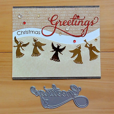 "IMPRESSION OBSESSION ""GREETINGS"" CHRISTMAS SCRIPT SENTIMENT Cutting Die BNIP"
