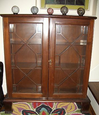 ANTIQUE mahogany CHINA DISPLAY CABINET GLASS FRONT