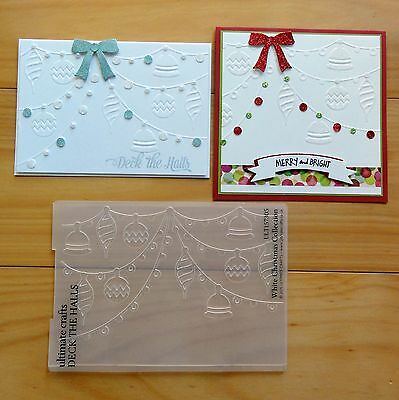 """ULTIMATE CRAFTS CHRISTMAS 5""""x7"""" EMBOSSING FOLDER DECK THE HALLS """"REDUCED"""" BNIP"""