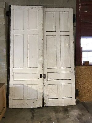 ~ ANTIQUE SET OF White VICTORIAN POCKET DOORS 86 X 122 ~ARCHITECTURAL SALVAGE