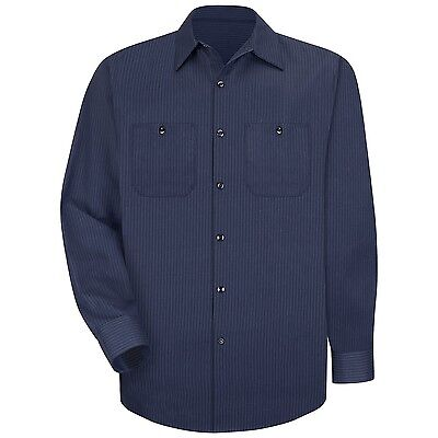 New Red Kap Men's Industrial Stripe Work Uniform Irregular Shirts Navy / Blue