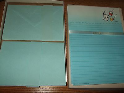 VINTAGE HALLMARK PEANUTS STATIONERY SNOOPY & WOODSTOCK DIVING INTO WATER 24sheet