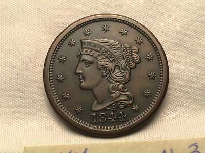 1844  Braided Hair Large Cent.  N-3, MDS