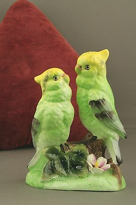 Quality Porcelain Continental Figure Of Green Parakeets / Cockatiels / Lovebirds