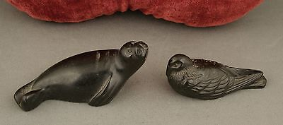 2 x Tiny Sculptures (Possibly Soapstone) Seal & Bird Canada Inuit Carvings
