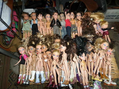 Huge Lot Of 61 Bratz Boy And Girl Dolls  With Extra Clothes Shoes Purses Feet
