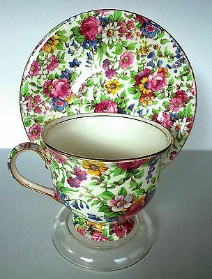 """Stunning Royal Winton Chintz """"Summertime"""" Teacup and Saucer"""