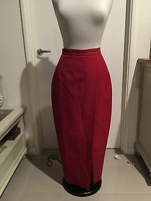 Vintage View Factory Red Wool Skirt Sz12
