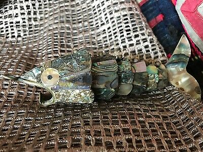 Old New Zealand Brass and Paua Shell Fish …beautiful for necklace or coffee tabl