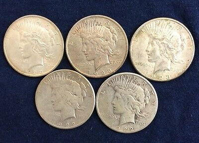 5 Peace Dollars Circulated Various Dates And Mint marks Y