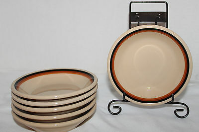 Vintage~INCA WARE~Shenango China~6 SAUCE DISHES~Tan~ORANGE Brown BLACK Stripe