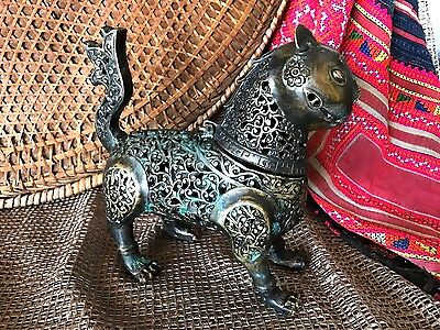 Old Chinese Bronze Brass Feline Incense Burner… usable collection piece