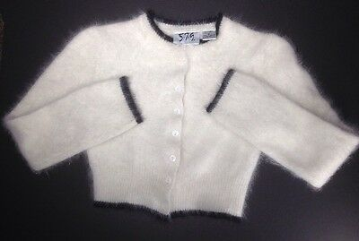 Juniors/ Womens Vintage 5.7.9. Size Small White Angora Cardigan Cropped Sweater